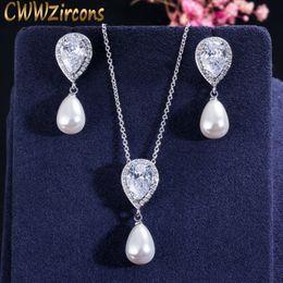 $enCountryForm.capitalKeyWord Australia - wholesale Brilliant Quality Cute Water Drop Cubic Zirconia Dangling Pearl Necklace Earrings Jewelry Sets for Women T156