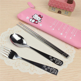 749aed7131ba4 Doraemon Sets UK - 3PCS SET Cartoon Hello Kitty Doraemon Stainless Steel  Travel Dinnerware Set Cutlery