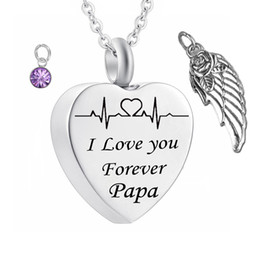 Birthstone pendants for necklaces online shopping - Angel Wing Cremation Necklace Birthstone crystal pendant Ashes Memorial Keepsake Pendant Stainless Steel Jewelry for papa