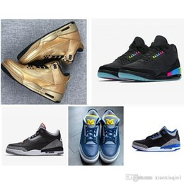 Wholesale Mens AJ3 basketball shoes retro jumpman air Atmos x Hornets Purple Bio Beige AJ S kids sneakers with original box size