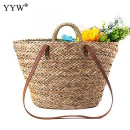 Handmade Zipper Bag Australia - 2019 Bohemian Style New Summer Bucket Handmade Bags Women Zipper Beach Weaving Ladies Straw Bag Wrapped Beach Bag