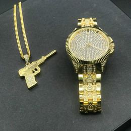 "silver necklace chain mens set Australia - Mens hip hop diamond watch and necklace set Gold Silver Hip Hop Iced Out Cuban Chain Pendant w  24"" box chain necklace set"