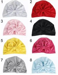 Wholesale Baby Girl Bow Cotton Hat Bunny Ear Caps Europe Style Turban Bowknot Head Wraps Hats Colors Infant India Hats Kids Winter Beanie
