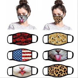 animal anti dust Australia - Funny Face Mask Cartoon Printed Reusable USA flag 3D leopard animal print Anti Dust Washable Outdoor Mouth Cover Designer Masks LJJA4083