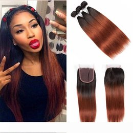 auburn closure UK - Colored Brazilian Ombre Auburn Human Hair 3 4 Bundles With Closure Two Tone Brazilian 1B 33# Straight Auburn Hair Weave With Closure