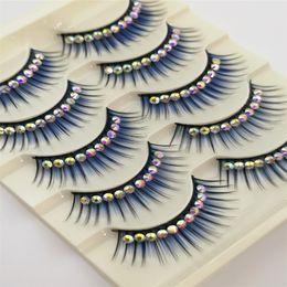 $enCountryForm.capitalKeyWord Australia - Blue Eyelashes with Diamond for Latin Dance 5pairs Dramatic Thick False lashes Synthetic Hair Stage makeup
