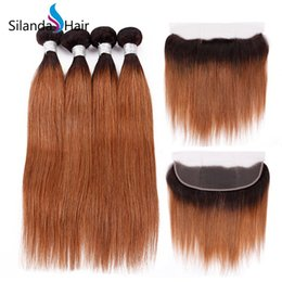 $enCountryForm.capitalKeyWord UK - Silanda Hair High Quality Ombre Color #T 1B 30 Straight Remy Human Hair Weaves 3 Bundles With 13X4 Lace Frontal Closure Free Shipping
