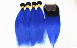blue ombre hair extensions human UK - A 1b  Blue Straight Hair Extensions 3 Or 4 Bundles With 4x4 Hair Closure Free Part Brazilian 100 %Virgin Human Hair Weaves 10 -18inch