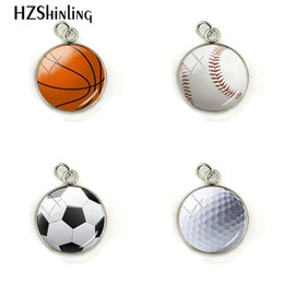 $enCountryForm.capitalKeyWord Australia - 2019 New Fashion Basketball Baseball Soccer Golf Glass Cabochon Photo Crystal Pendant Handmade Jewelry Charm Accessories