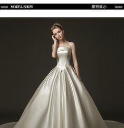e6d1ca8223 Satin wedding dress 2019 new bride Qi long tail slim Slim Princess Princess  dream tube top was thin autumn