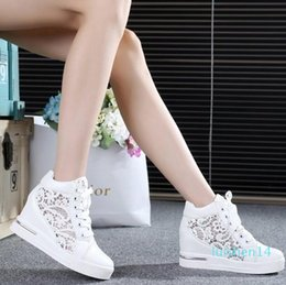 hollow mesh shoes NZ - 2016 Women Mesh Hollow Elevator Shoes Thick Soled Lace Shoes Woman Platform Wedges Loafers Creepers High Heels Zapatos Mujer l14