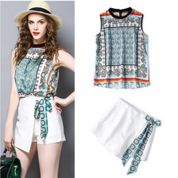 Beautiful Suits Australia - Beautiful Women Summer Shorts Suit Vintage Flowers Print Bows Stand Collar Loose Tops Blouse And White Short Pants Suit Ns187 J190430