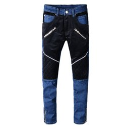 $enCountryForm.capitalKeyWord UK - 2019 New Fashion High Street fashion jeans Men's Stitching Slim Straight trousers Motorcycle pants More Size 29-38 40 42