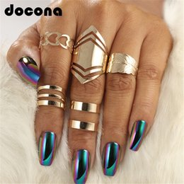 Hollow Fingers Australia - docona 5pcs set Trendy Bague Punk Joint Circle Mid-Finger Rings Set for Women Adjustable Gold Hollow Party Ring 2707