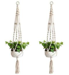 $enCountryForm.capitalKeyWord Australia - Plant Hanger Hook Flower Pot Handmade Knitting Natural Fine Cordage Planter Holder Basket Home Garden Balcony Decoration