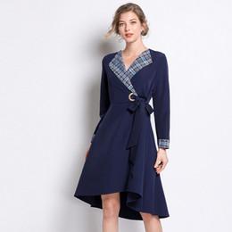 $enCountryForm.capitalKeyWord NZ - Plus Size Plaid Long Sleeve Bow Sashes Tunic Irregular Hem Dress Women Elegant Casual Office Fashion Beach Dress Lady Clothing
