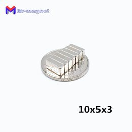 wholesale neo magnets Canada - Fridge Magnets 100pcs N35 10*5*3mm Permanent Magnet 10*5*3 Super Strong Neo Neodymium Block 10x5x3 Ndfeb 10x5x3mm with Nickel Coating