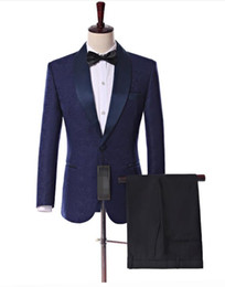 $enCountryForm.capitalKeyWord Australia - Navy Blue Paisley Groom Tuxedos for Wedding Prom Men Suit Side Vent Shawl Lapel Groomsmen Wedding Men Party Suits (Jacket+Pants+Tie)