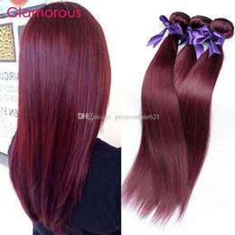 inch straight burgundy hair weave 2019 - Glamorous Brazilian Remy Human Hair Burgundy Hair Weaves 4 Bundles 12-26In Peruvain Malaysian Indian Body Wave Straight