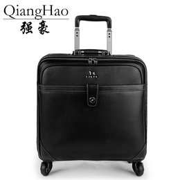 "black spinner luggage Australia - QiangHao 16"" 20"" inch 100% Genuine cow leather black vintage cabin suitcase retro hand luggage trolly bag travel box"