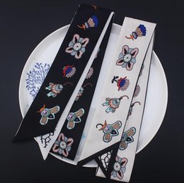China Women Bee Flower Satin Scarf Neck Scarf Printed Hairband Neckerchief Handbag Head-Neck Hair Tie Band 120x5cm cheap blue bee flowers suppliers