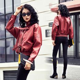 Discount loose wine - 2018 New Autumn Women Loose Faux Soft PU Leather Jackets Lady Free Motorcycel Biker Long Sleeve Coat Streetwear Wine Red