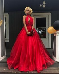 Short Red Illusion Neckline Dress Australia - Sexy Red Keyhole Prom Dresses With Pockets New 2019 Hlater Neckline Backless Plus Size African Girls Long Evening Gowns Organza Skirt Skirt