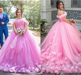 3280b59e8fe Elegant Pink Quinceanera Dresses Off Shoulder Ball Gown Hand Made Flowers  Sweet 16 Sweep Train Plus Size Party Dress Prom Evening Gowns