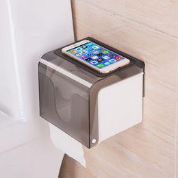 Phone Holder Boxes Australia - Paper Dispenser Waterproof Wall Mounted All Covered Mobile Phone Shelves Bathroom Toilet Roll Tissue Holder Box Self-Adhesive