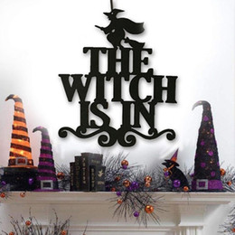 wall hanging signs Australia - Halloween Door Hanging Hanging Sign The Witch is in-Halloween Witch Wall Decoration Party Decoration New