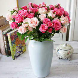 Real Touch Flowers Fake Australia - 5 Forks Real Touch Artificial Rose Flowers Silk Fake Flower Bouquet Wedding Party Supply for Home Garden Decoration Floral