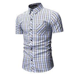 Blue Red Checkered Shirt Australia - Red And Black Plaid Shirt Men Shirts 2019 New Summer Fashion Chemise Homme Mens Checkered Shirts Short Sleeve Shirt Men Blouse