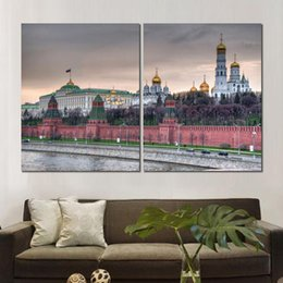 $enCountryForm.capitalKeyWord Australia - Classic 2 sets moscow kremlin wall promenade church art poster print on canvas for home decoration