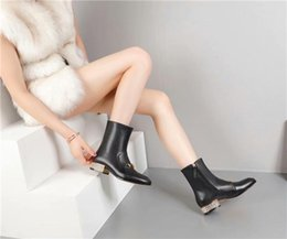 Pig dress online shopping - Hot Sale new autumn winter leather buckle water drill fashionable dress boots Square head thick with fashionable joker Martin b