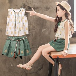 ec3c28a1d4c 2019 Summer girls princess outfits kids pineapple Clothes Sets printed Bows  falbala sleeve Shirts blouse+tassel belt shorts 2pcs sets Y1047