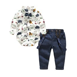 toddler boys rompers Canada - Tem Doger Baby Boys Gentleman Clothes Suits Bowtie Shirt Rompers + Overalls 2pcs Toddler Bodysuit Outfits Infant Party JumpsuitsMX190912