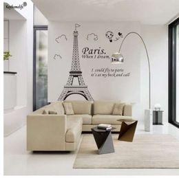 Paris Eiffel Tower Wall Sticker Australia - Romantic Paris Eiffel Tower Beautiful View of France DIY Wall Stickers Wallpaper Art Decor Mural Room Decal YYJ0