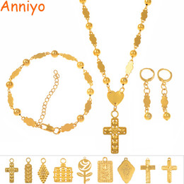Bracelet Earrings Set Australia - Anniyo Heart Cross Pendant Ball Beads Necklaces Bracelet Earrings Jewelry Set Gold Color Hawaii Micronesia Marshall Guam #161206 J190521