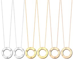 $enCountryForm.capitalKeyWord Australia - Designer Jewelry LOVE Ring Necklace Plated 18K Gold Screw Necklace with Rose Gold Platinum Luxury Woman love gift 2 colors