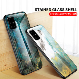blackberry soft shell case Canada - MarbleTempered Glass Phone Case For Samsung Galaxy S20Ultra S20 S10 5G Stained Glass Shell For Note10pro A71 5G A31 Soft TPU Edge