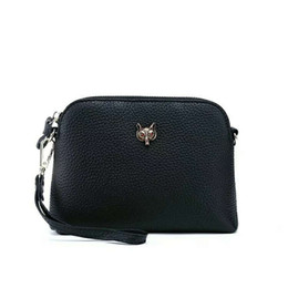 Genuine Cowhide Shoulder Leather Bags UK - Belle2019 Cowhide Layer Single Shoulder Fox Head Small Shell Package Woman Genuine Leather Oblique Satchel Japan And South Korea Bag