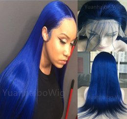 ship hair Australia - Blue Color Full Lace Wig 10A Virgin Brazilian Human Hair Lace Front Wigs Celebrity Wig Silky Straight Lace Wigs Free Shipping