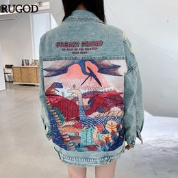 punk style jackets Canada - RUGOD 2019 New Autumn Funny Cartoon Print Long Denim Jacket Women Vintage Streetwear Punk Style Jean Jacket casaco feminino V191109