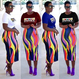 $enCountryForm.capitalKeyWord NZ - African T shirt + Skirt 2 Piece Dress Multicolor Striped Printed Women's Two Piece Sets Polyester Summer Clothing S-3XL Wholesale
