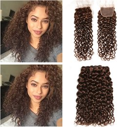 $enCountryForm.capitalKeyWord UK - Chocolate Brown Malaysian Wet Wavy Human Hair Weave Bundles with Closure Dark Brown Water Wave Lace Front Closure 4x4 with Weave Bundles