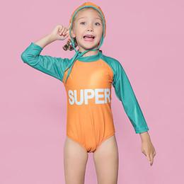 c3c7363df8 Kids Girls Split Swimsuit Long Sleeve Letter Fruit Print Girls Sling  Swimsuit Zipper Solid Sportswear Splice Sets Elastic Swimming Cap