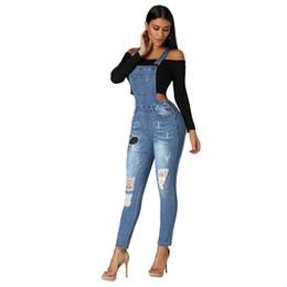 $enCountryForm.capitalKeyWord Australia - Super Handsome Ladies Brokean Hole Bib Jeans Trend Wild High-waist Stretch Slim Overalls Casual Womens Denim Suspenders