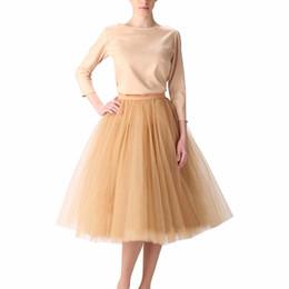 $enCountryForm.capitalKeyWord Australia - Vintage Gold Puffy Women Tulle Skirts Knee Length Female Tulle Skirt Plus Size Midi Tutu Adult Skirt High Quality Faldas