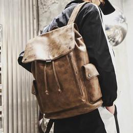 $enCountryForm.capitalKeyWord NZ - sales brand men handbag vintage leather student bags large capacity clamshell drawstring backpack outdoor waterproof casual fashion back
