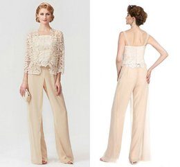 Breast size model online shopping - 2020 New Champagne Three Pieces Mother of the Bride Pants Suit Lace top Plus size Chiffon Unique Mother Suits Jumpsuit for Wedding Party